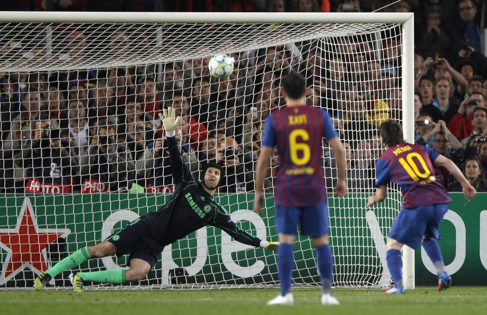 Barcelona039s Lionel Messi takes a penalty kick and fails to score during their Champions League semi-final second leg soccer match against Chelsea at Camp Nou stadium in Barcelona