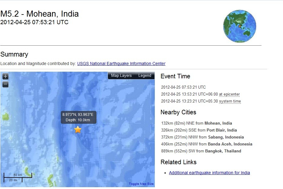 5.2 quake off India's Nicobar Islands