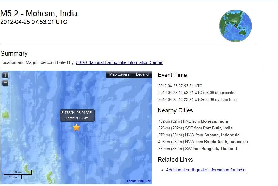 5.2 quake off India's Nicobar Islands