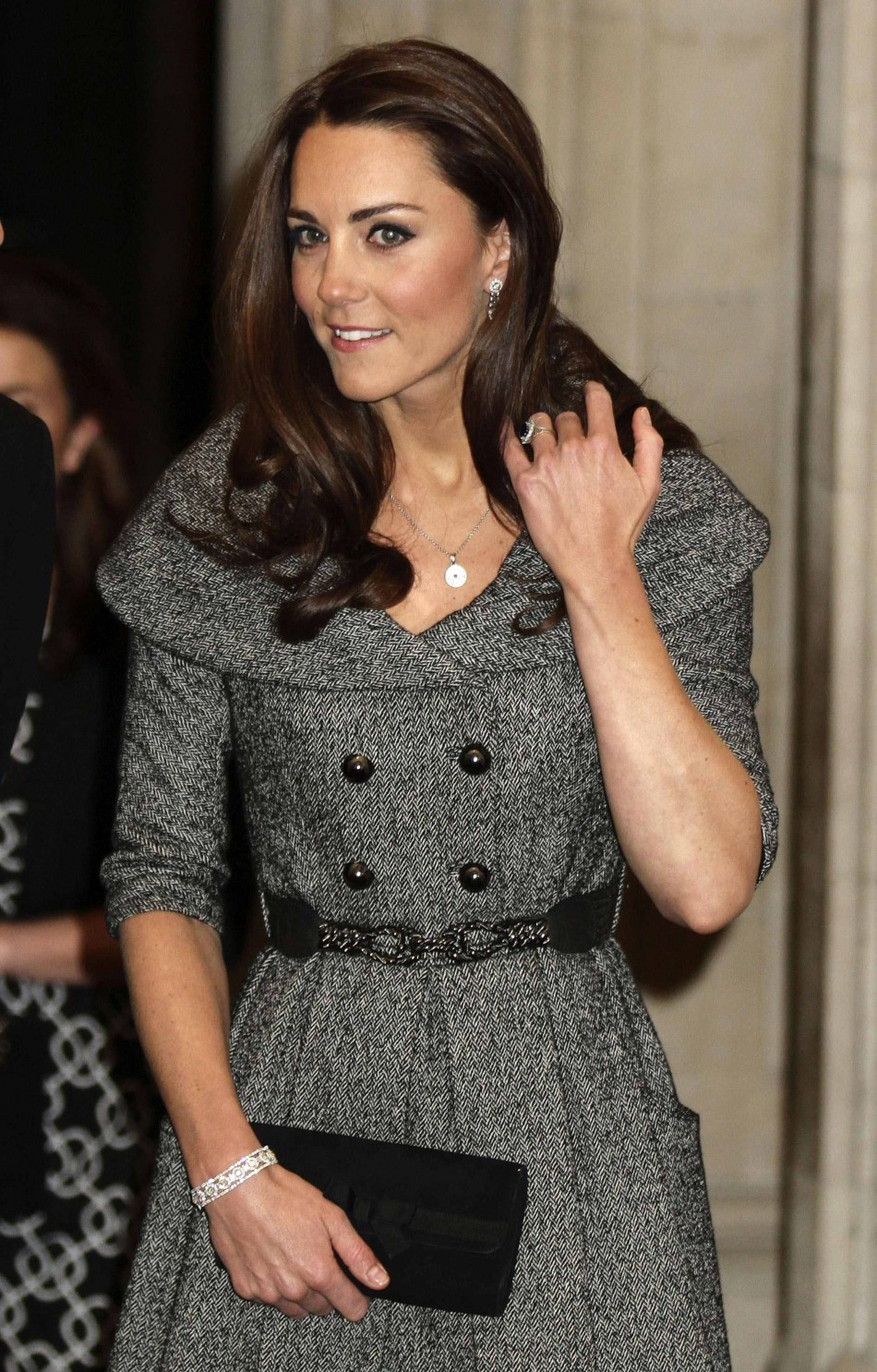 Britain's Catherine, Duchess of Cambridge leaves after visiting the Lucian Freud Portraits exhibition at the National Portrait Gallery in central London