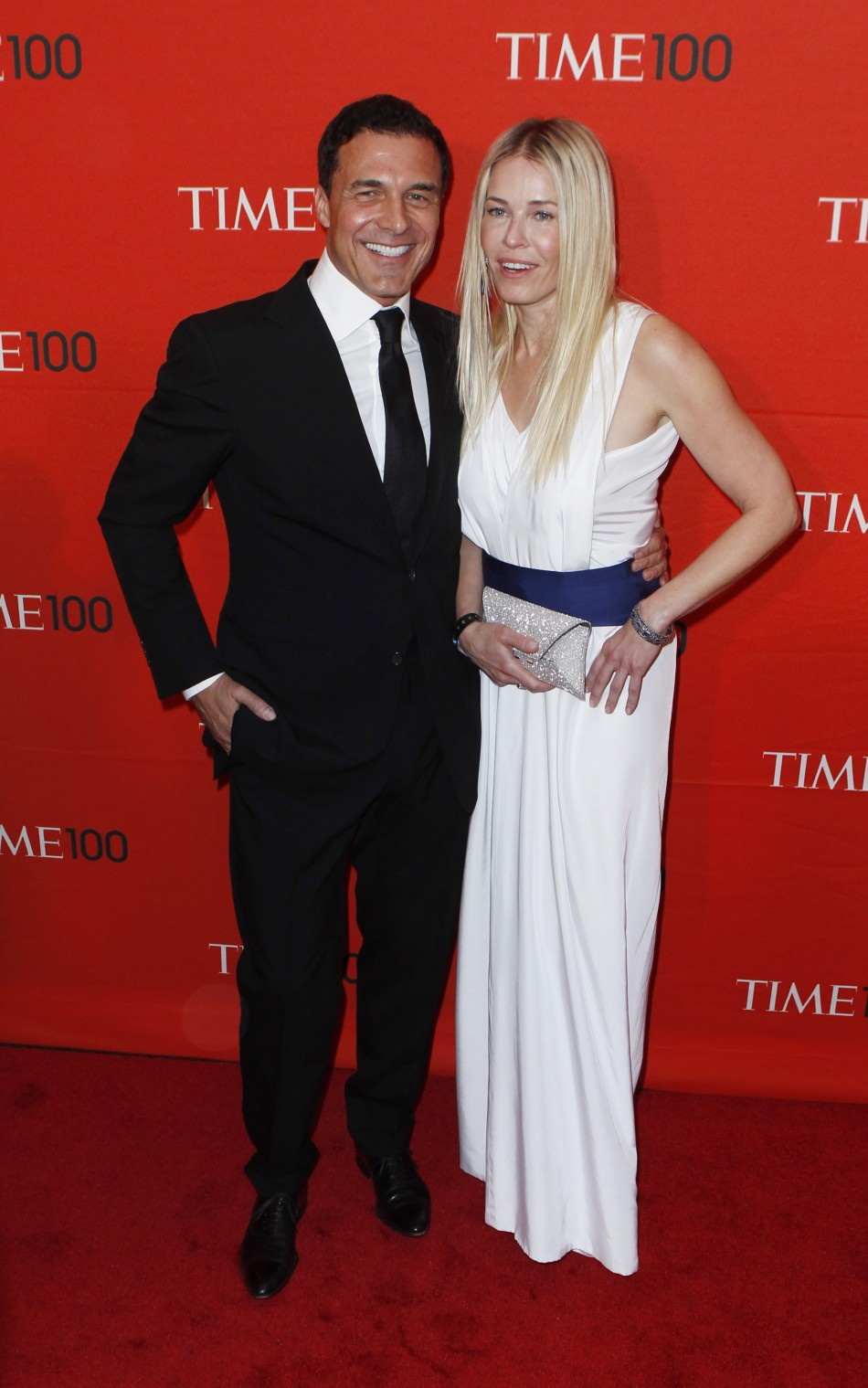Actress Chelsea Handler arrives with Andre Balazs to be honored at the Time 100 Gala in New York