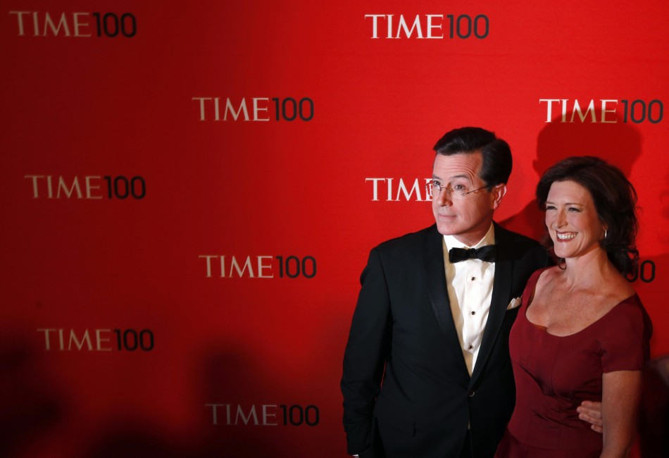 Comedian Stephen Colbert arrives with Evelyn McGee-Colbert to be honored at the Time 100 Gala in New York