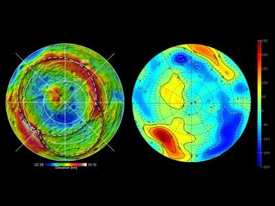 Shape and Gravity of Vesta039s South Pole