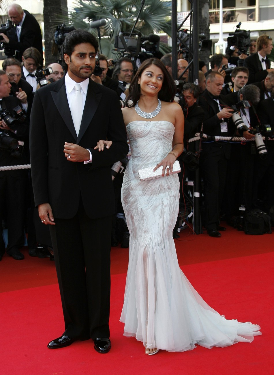"Bollywood star Abhishek Bachchan and his wife, Bollywood actress Aishwarya Rai arrive for an evening gala screening of Chinese director Wong Kar Wai's in-competition film ""My Blueberry Nights"" at the 60th Cannes Film Festival 2007"