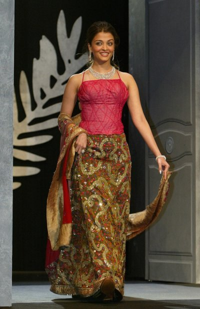 Jury member Aishwarya Rai, Indian actress and a former Miss World, walks on stage during opening ceremonies at the 56th International Film Festival in Cannes 2003