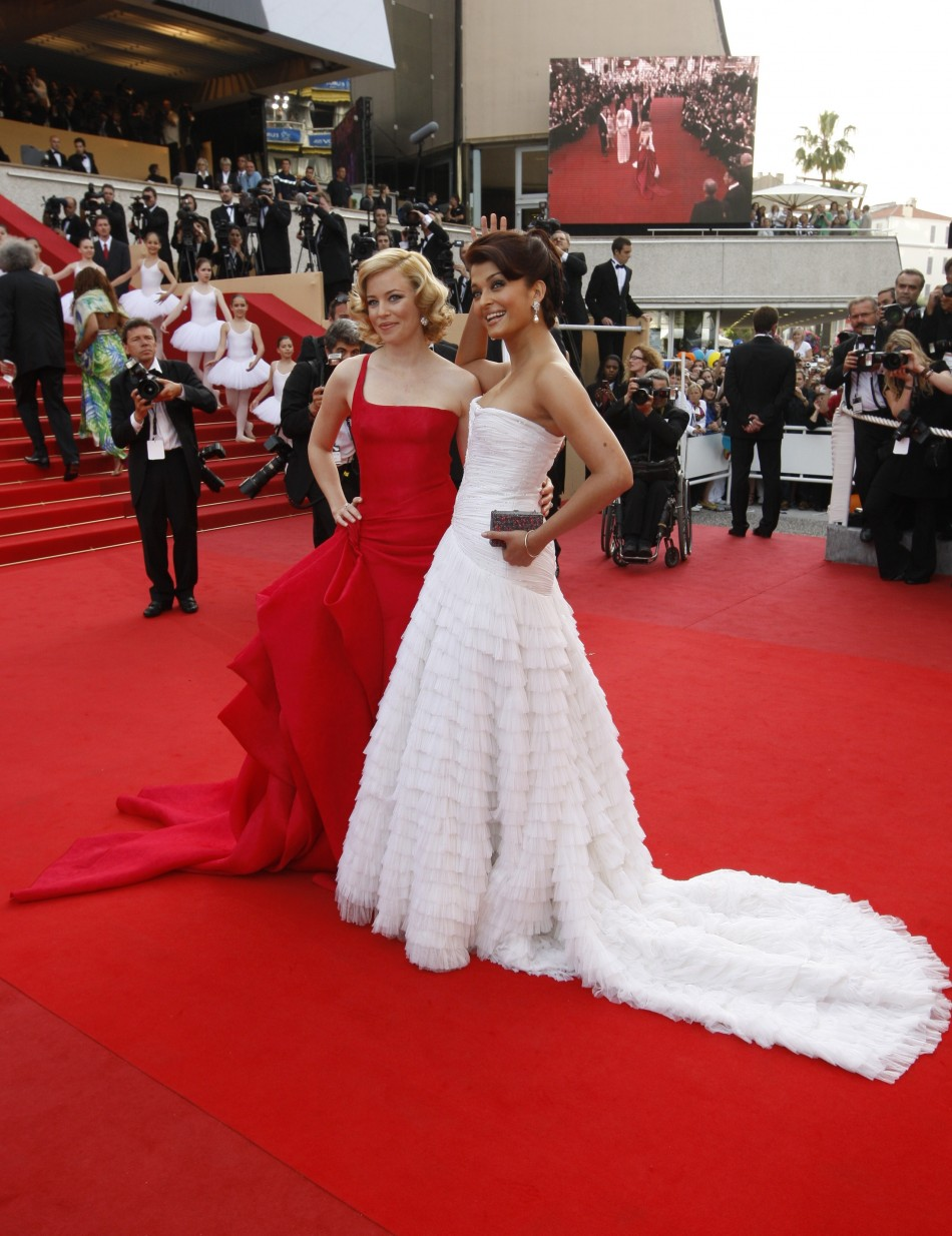 Bollywood actress Aishwarya Rai arrives with U.S. actress Banks for the opening night of the 62nd Cannes Film Festival 2009