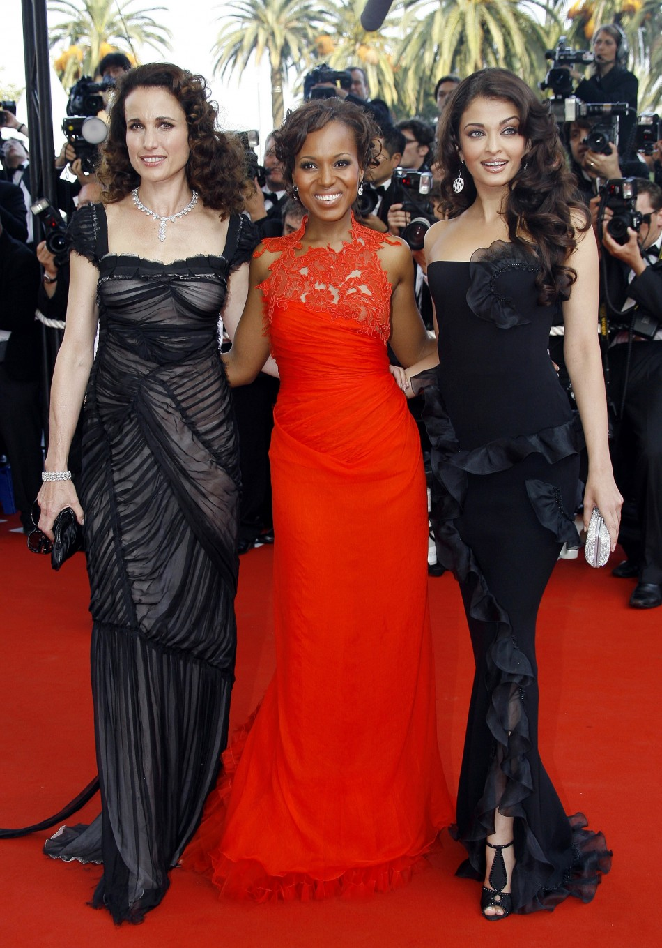 Actresses Andie McDowell L, Kerry Washington C and Aishwarya Rai R attend the world premiere of quotThe Da Vinci Codequot at the opening night of the 59th Cannes Film Festival in Cannes 2006.