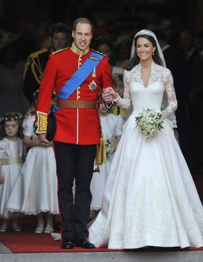 Britain039s Prince William and Catherine, Duchess of Cambridge, walk after their wedding ceremony in Westminster Abbey