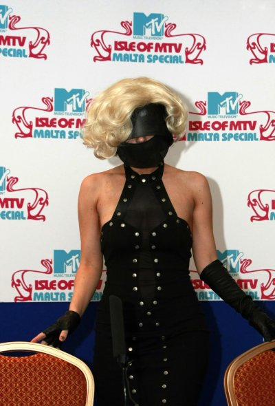 Lady Gaga poses during a news conference before the quotIsle of MTVquot concert in Floriana, outside Valletta