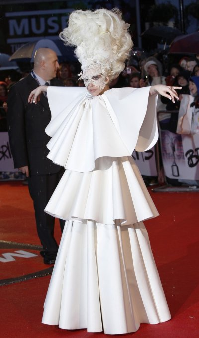 U.S. singer Lady Gaga arrives at the 30th Brit Awards ceremony at Earls Court in London