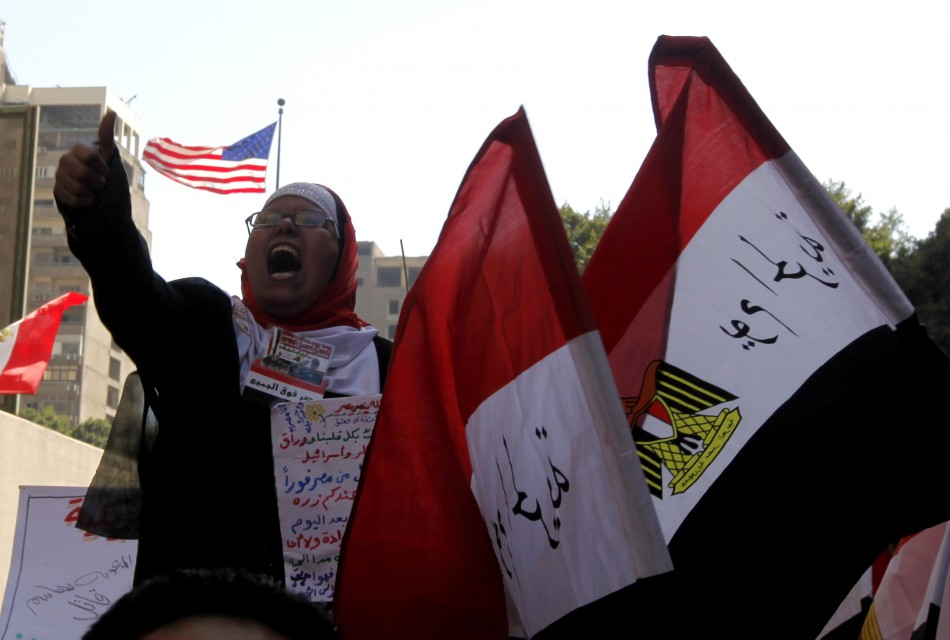 A woman takes part in a protest in Egypt