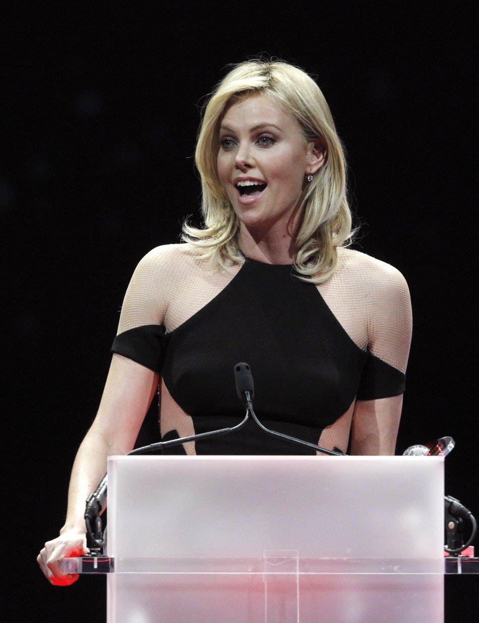 Charlize Theron accepts the Distinguished Decade of Achievement in Film Award during the CinemaCon Big Screen Achievement Awards show in Las Vegas