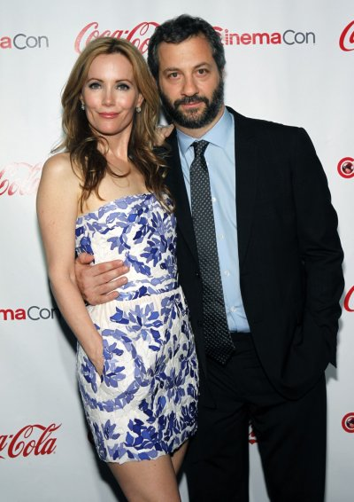Actress Leslie Mann and her husband Judd Apatow arrive for the CinemaCon Big Screen Achievement Awards show at Caesars Palace in Las Vegas
