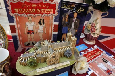 Various items are displayed at an exhibition on Royal Wedding souvenirs in Hong Kong