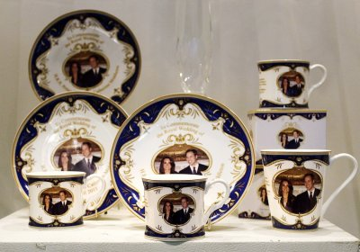 Royal wedding commemorative china are displayed in a shop window in central Sydney