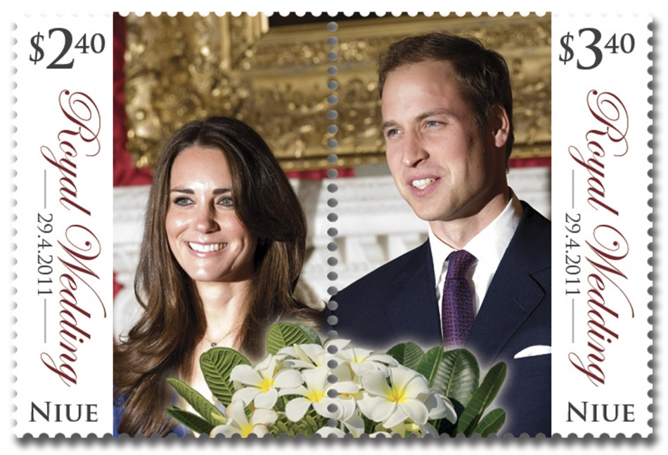 A Royal Wedding stamp from the tiny Pacific island of Niue is seen in this handout photo obtained by Reuters