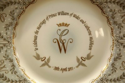 Official Royal Wedding commemorative china is displayed at the Queens Gallery shop on Buckingham Palace Road, in central London