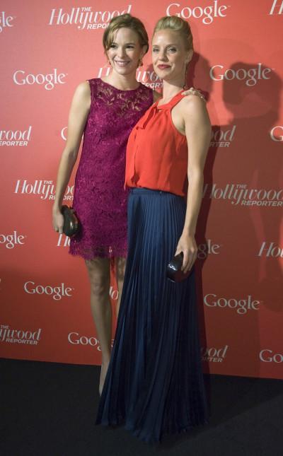 Actresses Danielle Panabaker L and Kelli Garner