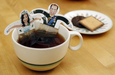 Souvenir teabags with depictions of Britains Prince William and Kate Middleton are seen in London