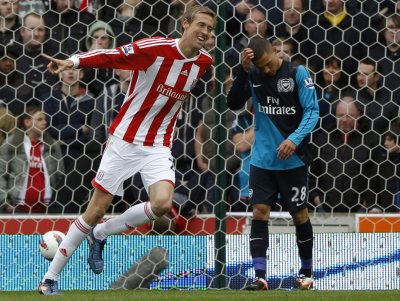 Peter Crouch Celebrates His Goal