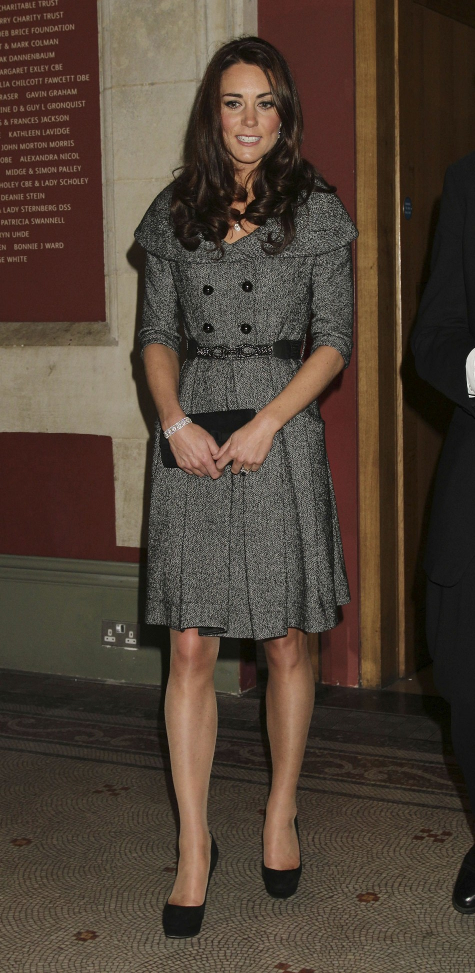 Britains Catherine, Duchess of Cambridge leaves after visiting the Lucian Freud Portraits exhibition at the National Portrait Gallery in central London