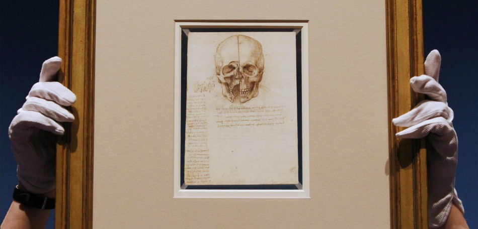 An employee poses with artist Leonardo da Vinci039s drawing quotA skull sectioned, 1489quot at the Queen039s Gallery at Buckingham Palace in London