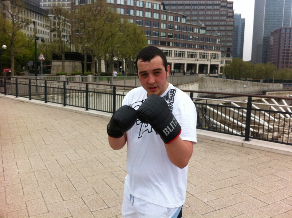 Jamie with his boxing gloves