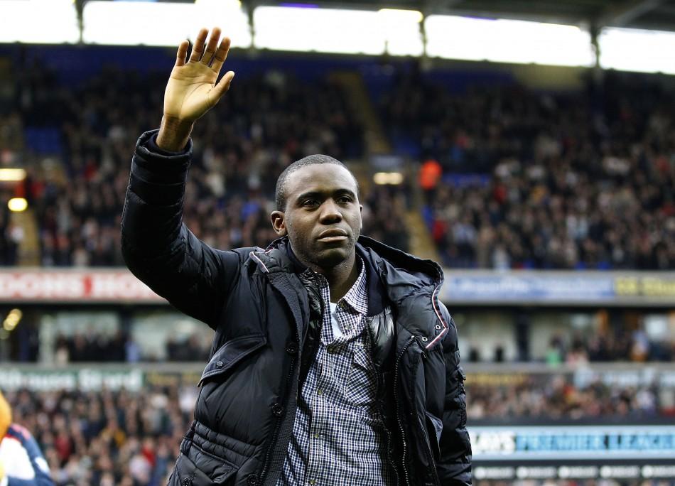 Bolton Wanderers039 Muamba reacts on his return to the Reebok Stadium
