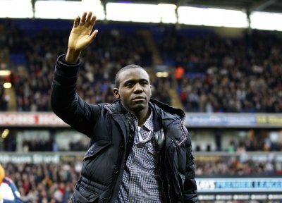 Bolton Wanderers039 Muamba reacts on his return to the Reebok Stadium