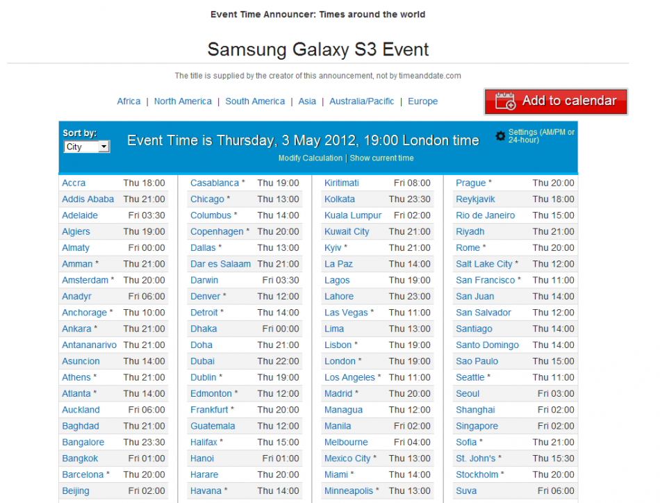 Galaxy S3 Launch Event Time Calendar
