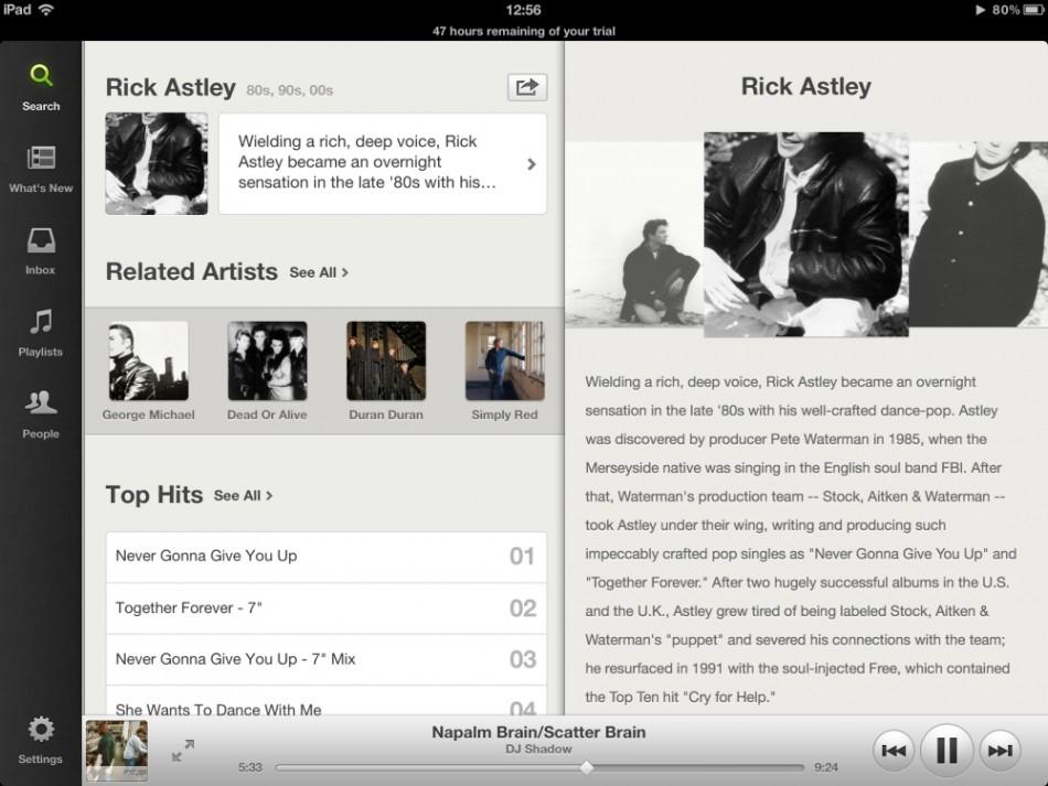 Spotify for ipad 2012 free rick astley