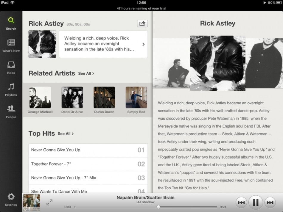 Spotify for ipad 2012 free rick astley