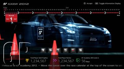 Grand Turismo 5 GT Academy 2012 Season 2 user interface screen 1