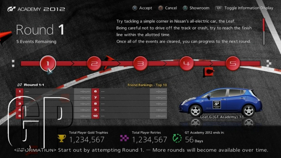 Grand Turismo 5 GT Academy 2012 Season 2 user interface screen 2