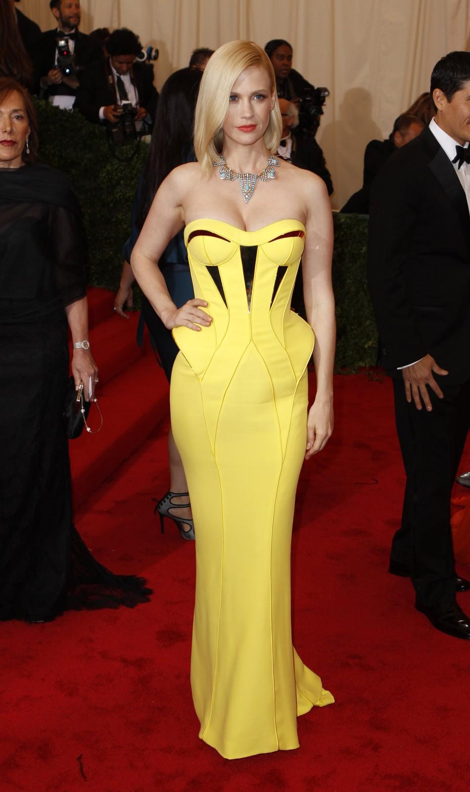 Actress January Jones arrives at the Metropolitan Museum of Art Costume Institute Benefit in New York
