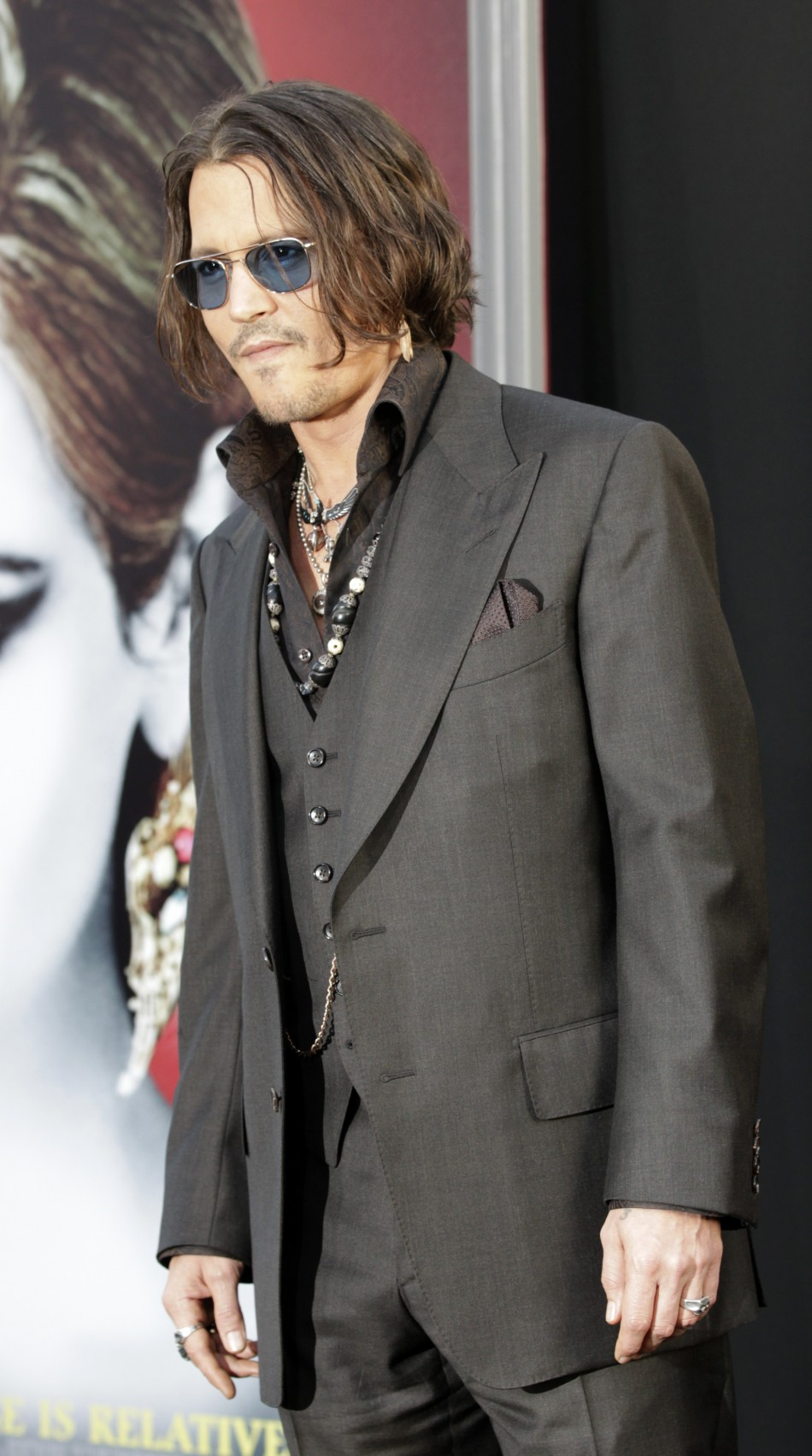 "Cast member Johnny Depp poses at the premiere of the film ""Dark Shadows"" at the Grauman's Chinese theatre in Hollywood, California May 7, 2012."
