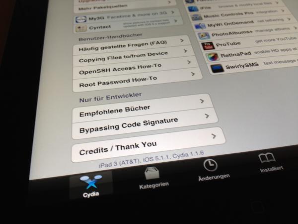 iPad 3 running iOS 5.1.1 Untethered Jailbreak in Cydia