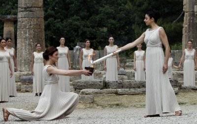 The lighting of the Olympic torch took place at the Temple of Hera, Olympia. Reuters