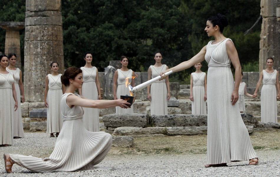 The lighting of the Olympic torch took place at the Temple of Hera, Olympia. (Reuters)