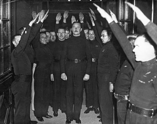 Oswald Mosley and Blackshirt supporters