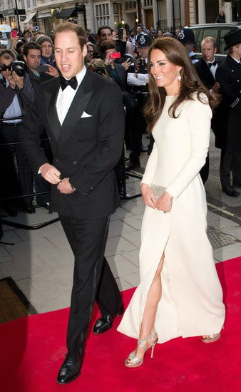 Kate Middleton in a cream full length gown