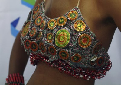 A model displays a creation made of firecrackers at a fashion institute as part of Diwali celebrations at Noida