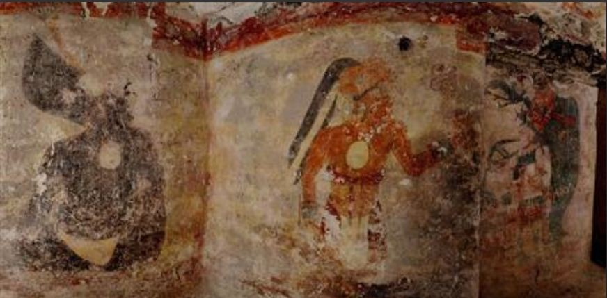Never-before-seen artwork - the first to be found on walls of a Maya house - adorn the dwelling in the ruined city of Xultun. REUTERS/Tyrone Turner/National Geographic/Handout