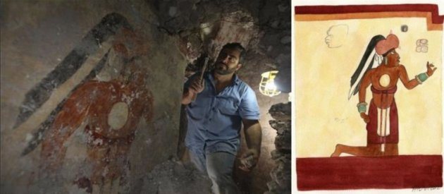 "Archaeologist William Saturno of Boston University excavates a house in the ruins of the Maya city of Xultun. The orange male figure labeled as ""Younger Brother Obsidian"" on the wall (L) is shown in an artist's rendition (R). REUTERS/Tyrone Turn"