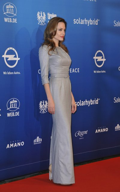 Angelina Jolie in a full length gown at the Berlin Film Festival