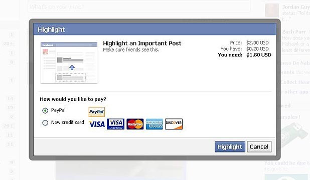 Facebook 'pay to promote'