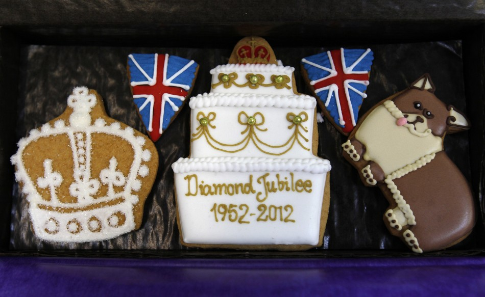 Biscuits created in celebration of Britain's Queen Elizabeth's Diamond Jubilee are displayed at Biscuiteers in London