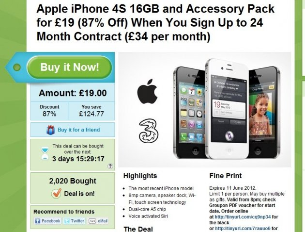 Groupon iPhone 4s Deal