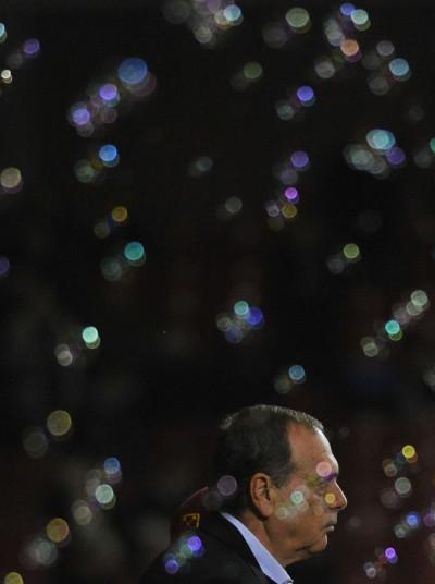 West Ham supporter blow bubbles