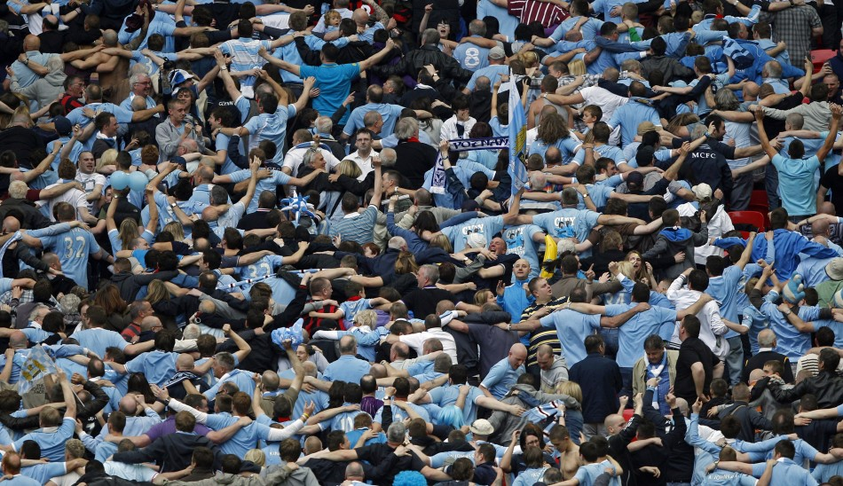 Manchester City fans do The Poznan